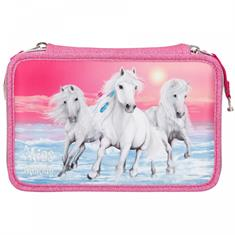 Miss Melody 3-Compartments Pencil Case Glitter Pink
