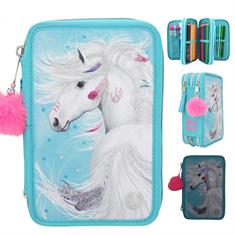 Miss Melody 3-Compartments Pencil Case With Led Ponpon