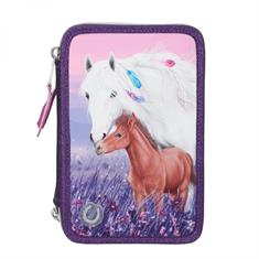 Pencil Case Miss Melody 3 Compartments LED purple